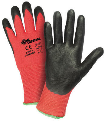 West Chester Small Zone Defense Cut And Abrasion Resistant Black Foam Nitrile Dipped Palm Coated Work Gloves With Elastic Knit Wrist