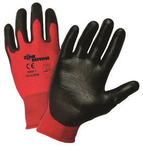 West Chester Medium Zone Defense Cut And Abrasion Resistant Black Polyurethane Dipped Palm Coated Work Gloves With Red Nylon Liner And Elastic Knit Wrist