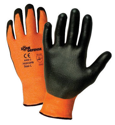 West Chester Large Zone Defense Cut And Abrasion Resistant Black Polyurethane Dipped Palm Coated Work Gloves With Orange High Performance Polyethylene Liner And Elastic Knit Wrist