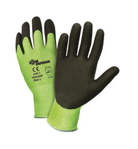 West Chester 2X Bright Green And Black Zone Defense Seamless Knit 10 ga HPPE Cut Resistant Gloves With Knitwrist, HPPE Lined And Nitrile Coating