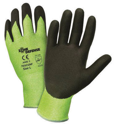 West Chester Medium Zone Defense 10 Gauge Cut Resistant Black Nitrile Dipped Palm Coated Work Gloves With Elastic Knit Wrist
