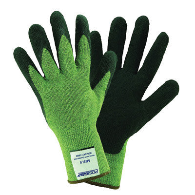 West Chester Medium Cut And Abrasion Resistant Black Nitrile Dipped Palm Coated Work Gloves With Green Kevlar Liner And Extended Cuff