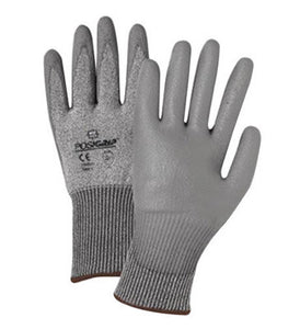 West Chester Small Gray PosiGrip Seamless Knit 13 ga Light Weight Cut Resistant Gloves With Elastic Cuff, Taeki 5 Lined And Polyurethane Coating