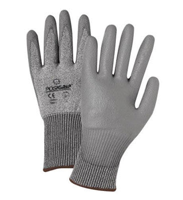 West Chester Large Gray PosiGrip Seamless Knit 13 ga Light Weight Cut Resistant Gloves With Elastic Cuff, Taeki 5 Lined And Polyurethane Coating