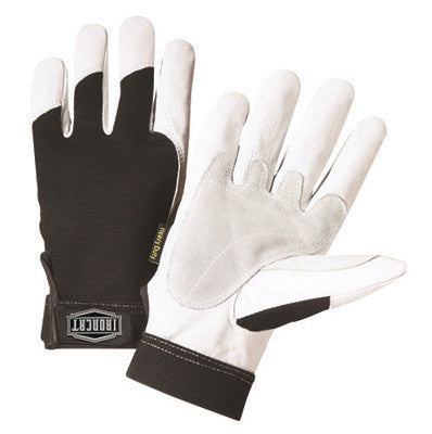 West Chester Medium Black And White Ironcat Full Finger Split Kevlar And Goatskin Heavy Duty Mechanics Gloves With Hook And Loop Wrist And Spandex Back
