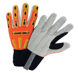 West Chester Large Hi-Viz Orange Heavy Duty R2 Corded Palm Rigger Cotton GLoves WIth Long Neoprene Cuff, Reinforced Thumb And Spandex Back