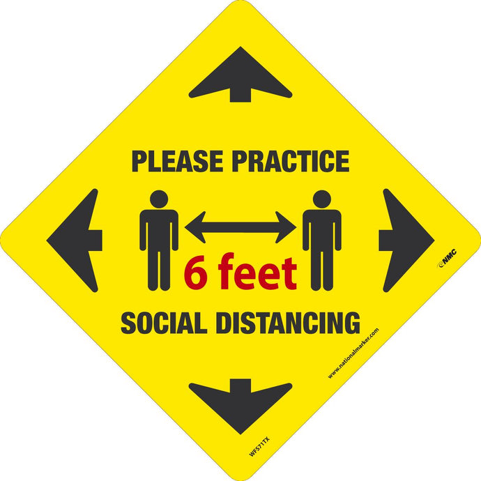 SOCIAL DISTANCING WALK ON FLOOR SIGN TEXWALK 11.75