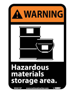 Warning Hazardous Materials Storage Area Sign