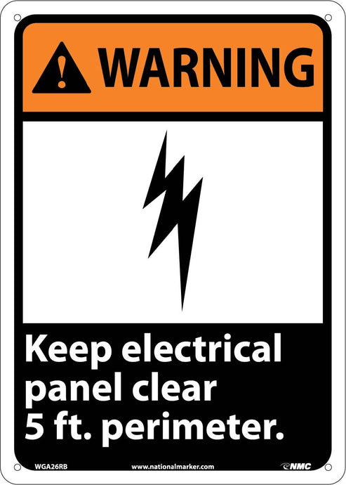 Warning Keep Electrical Panel Clear 5 Ft. Perimeter Sign