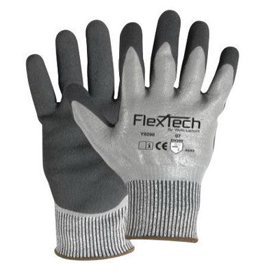 Wells Lamont Medium Gray And Black FlexTech 13 gauge Light Weight HPPE Dipped Cut Resistant Gloves With Knitwrist And Thermal Lining