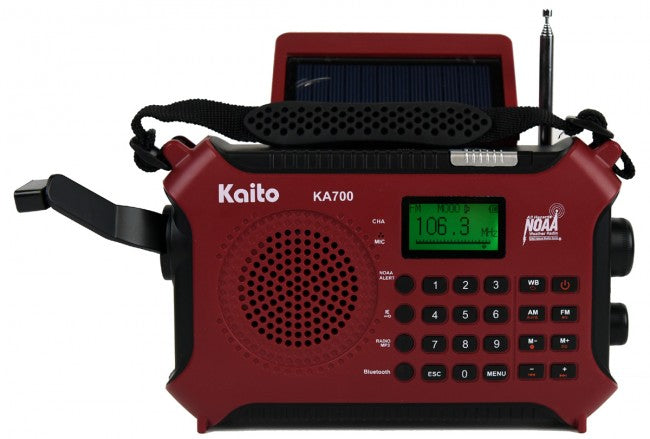 Kaito KA700 Bluetooth Emergency Hand Crank Dynamo & Solar Powered AM FM Weather Band Radio
