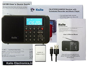Kaito KA108 Super Sound quality AM FM Shortwave Radio with MP3 Player and  Radio Recorder, Radio Time Schedule Recorder,Alarm Clock+ More