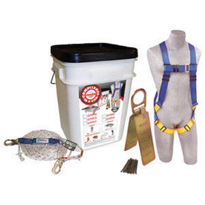 DBI/SALA Protecta PRO Compliance-In-A-Can With Reusable Roof Anchor, 5 Point Harness, Rope Grab And 50' Lifeline With 3600 Pound Gated Hooks