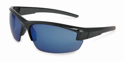 Uvex Mercury Safety Glasses With Black And Gray Frame And Blue Anti Scratch Lens (10 Pairs)