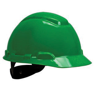 3M Green Polyethylene Hard Hat With 4-Point Ratchet Suspension And Uvicator UV Sensor (20 Pairs)
