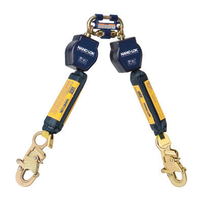 DBI-SALA Nano-Lok Twin Leg Self Retracting Lifeline With Quick Connector And Two Steel Snap Hooks