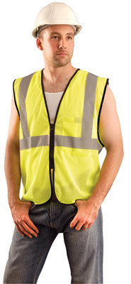 Value Mesh Standard Vest with Zipper-Yellow