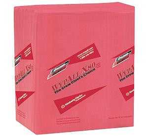 "Kimberly-Clark 12 1/2"" X 14.4"" Red WYPALL X80 1/4 Fold Towels (50 Per Package)"