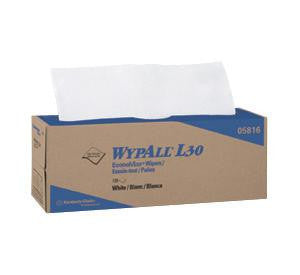 "Kimberly-Clark 16.4"" X 9.8"" White WYPALL L30 Wipers In Pop-Up Box (120 Per Box)"