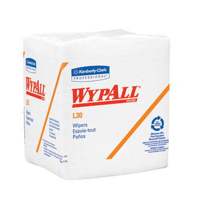 "Kimberly-Clark 12.5"" X 13"" White WYPALL L30 Quarter-Fold Wipers (90 Per Package)"