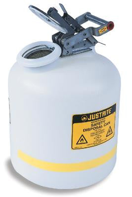 Justrite 5 Gallon Translucent White Disposal Can With Polypropylene Hardware