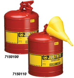 Justrite 2 1/2 Gallon Type 1 Safety Can With Staiinless Steel Flame Arrestor