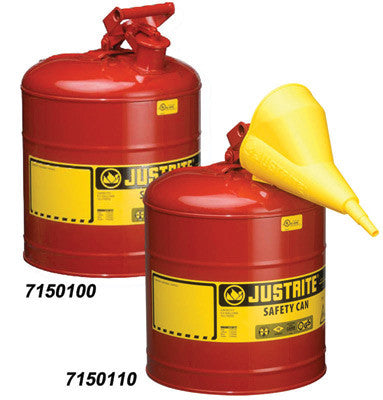 Justrite 5 Gallon Red Type 1 Safety Can With Staiinless Steel Flame Arrestor And Poly Funnel