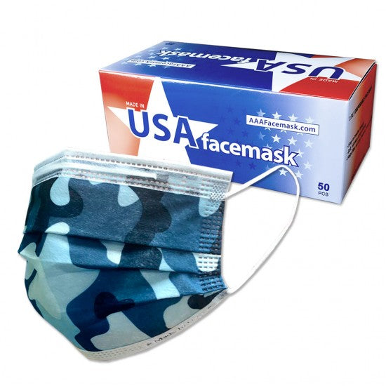 MADE IN THE USA 3-LAYER DISPOSABLE FACE MASK CAMO, GREY, PINK, OCEAN, BLACK (50 Per Box)