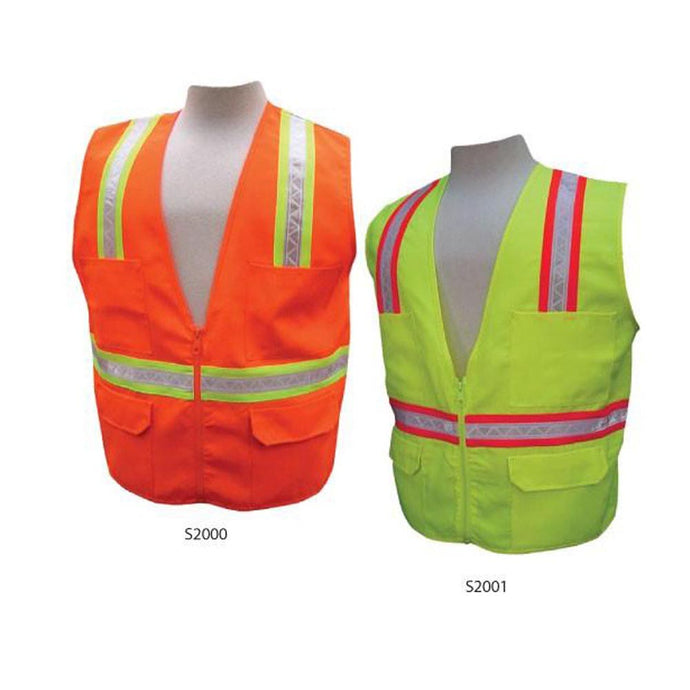 3A Safety - Multi-Pocket Surveyor's Safety Vest - Solid Front/Back