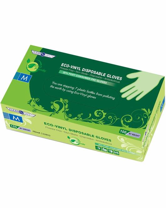 Clean Safety Green Eco-Vinyl 4mil Disposable Gloves (CASE)