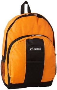 Everest Luggage Backpack with Front and Side Pockets  - Orange