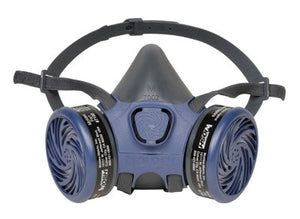 Moldex PVC Free Half Mask Reusable 7000 Series Air Purifying Respirator Assembly With Two 7100 Organic Vapor Cartridges, Two 8970 R-95 Pre-Filters And Two 7020 Pre-Filter Retainers