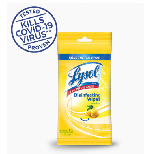 Lysol® Disinfecting Wipes - To Go Pack - 15 count