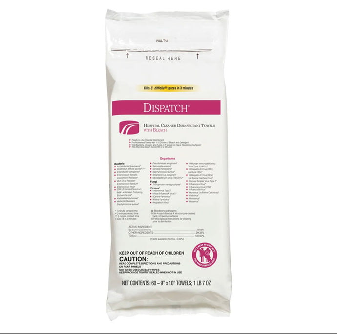 Dispatch Cleaner Disinfectant Towels with Bleach 9 x 10, 60/Pack