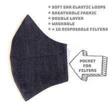 Load image into Gallery viewer, LMC Face Mask with Filter - Stretch Denim