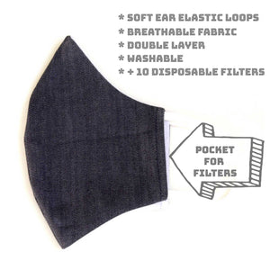 LMC Face Mask with Filter - Stretch Denim
