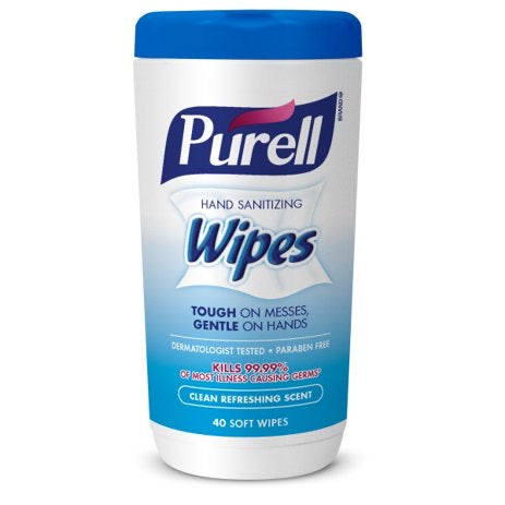 Purell Hand Sanitizing Wipes, Clean Refreshing Scent, Canister, 40 Soft Wipes