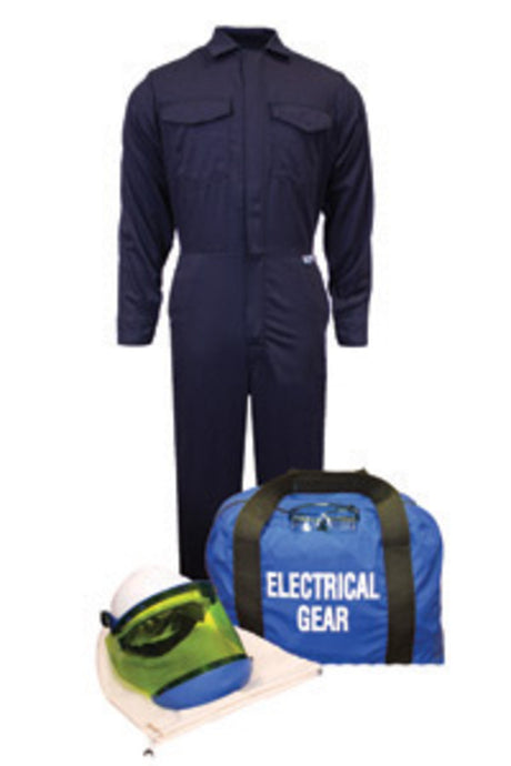 National Safety Apparel X-Large Navy Blue Arc Flash Kit With Coverall, Hard Cap, Faceshield, Chin Cup, Safety Glasses And Gear Bag