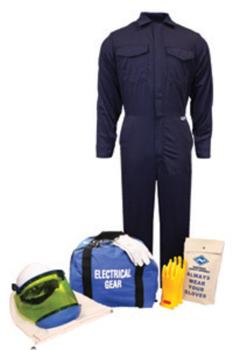 National Safety Apparel X-Large Navy Blue Ultra Soft Protera Arc Flash Kit With Size 9 Gloves, Glove Protectors, Hard Hat, Faceshield, Chin Cup, Safety Glasses, Faceshield Unit