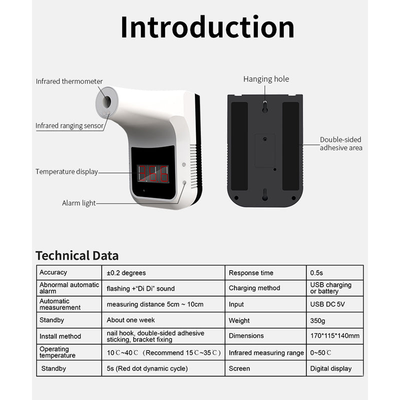 Non-contact Voice Broadcast Thermometer for Offices Shops Schools Factory Hands Free Automatic Body Temperature Scanner Nanssigy Wall-Mounted Infrared K3 Thermometer