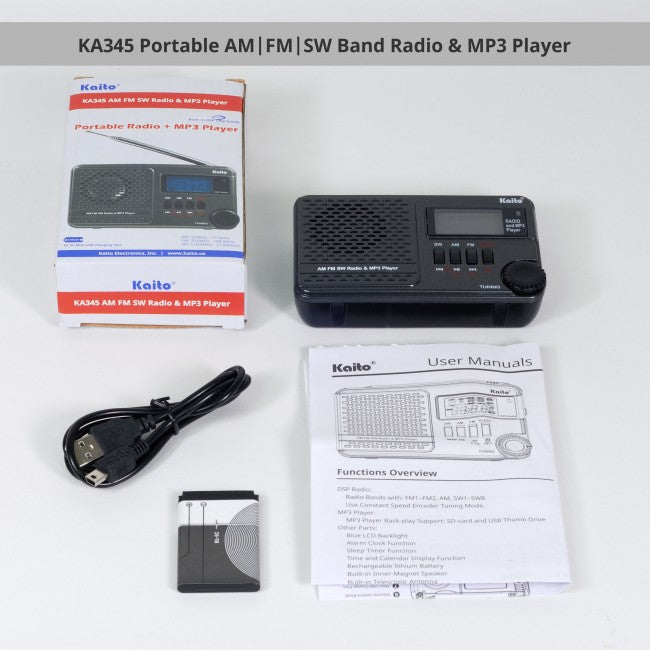 KA345 Pocket Digital DSP (Digital Signal Processing) AM FM Shortwave Clock Radio and MP3 Player with Micro-SD & USB Audio Input