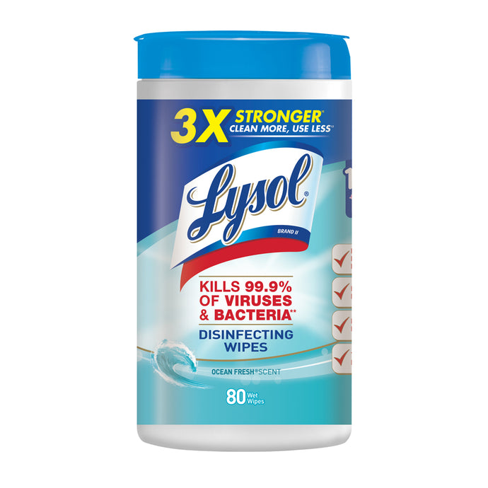 Lysol Disinfecting Wipes  Ocean Fresh - 80 Ct - Container