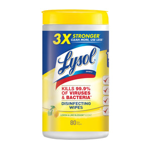 Lysol Disinfecting Wipes  Lemon & Lime Blossom - 80 Ct - Container