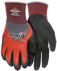 MCR Safety X-Large Ninja- BNF 18 Gauge Black Breathable Foam Nitrile Palm And Finger Tip Coated Work Gloves With Red Nylon/Spandex Liner And Knit Wrist