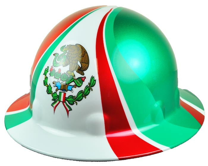 Fibre-Metal SUPEREIGHT White Mexican Flag Thermoplastic Full Brim Helmet