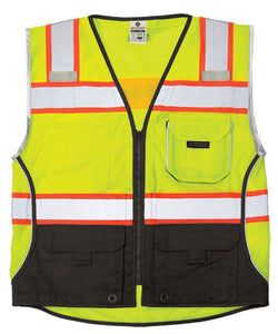ML Kishigo - Black Series Black Bottom Class 2 Safety Vest Color Lime Size Large