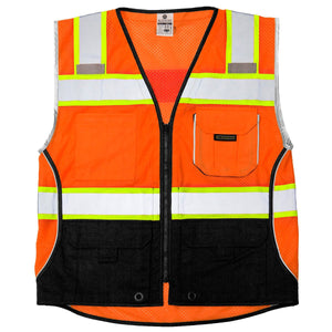 ML Kishigo - Black Series Black Bottom Class 2 Safety Vest Color Orange Size Medium