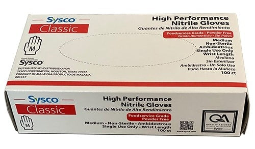Sysco Classic High Performance Nitrile Powder Gloves