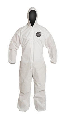 DuPont™ ProShield® 10 Coverall. Standard Fit Hood. Elastic Wrists and Ankles. Elastic Waist. Serged Seams. White.