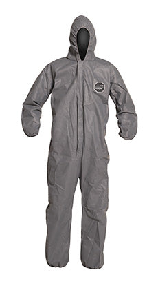 DuPont™ ProShield® 10 Coverall. Standard Fit Hood. Elastic Wrists and Ankles. Elastic Waist. Serged Seams. Gray.